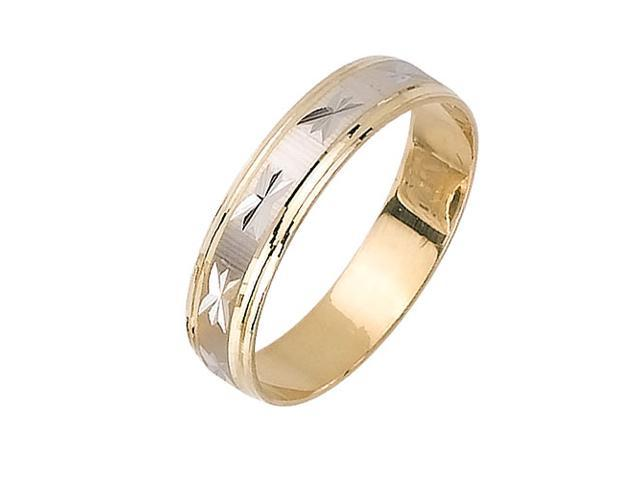 Asterisk Pattern Fancy Women's 5 mm 14K Two Tone Gold Wedding Band