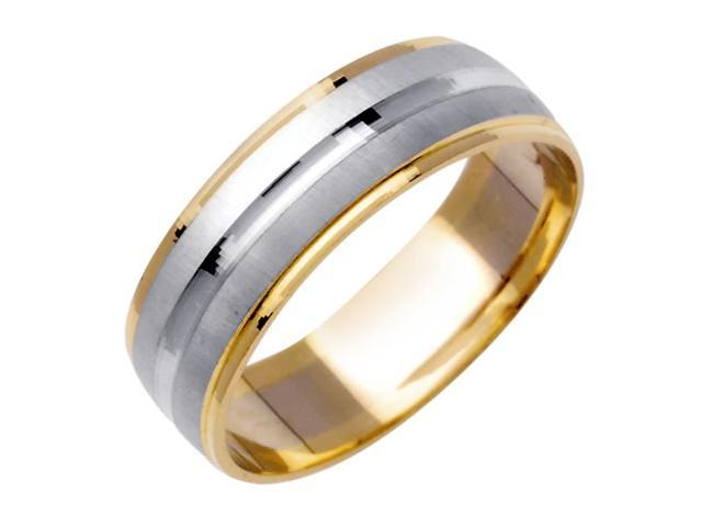 Half Dome With Center Groove Fancy Women's 6.5 mm 14K Two Tone Gold Wedding Band