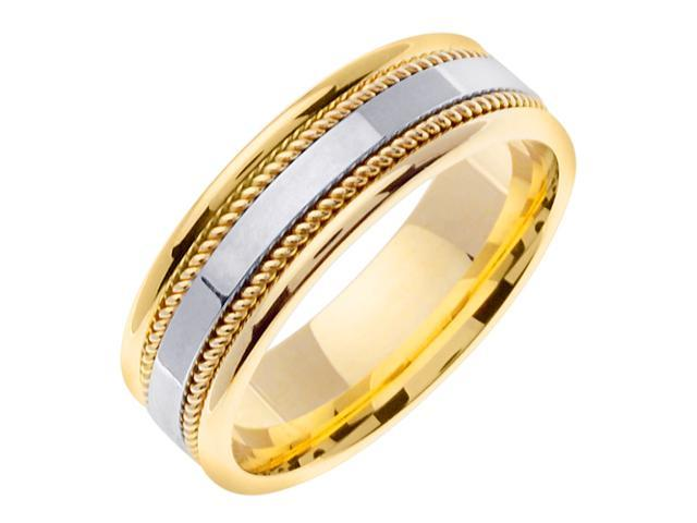 14K Two Tone Gold Comfort Fit Flat Surface Contemporary Men'S 7 Mm Wedding Band