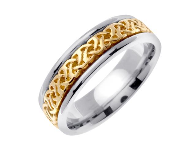 14K Two Tone Gold Comfort Fit Dara Knot Celtic Men'S 6 Mm Wedding Band