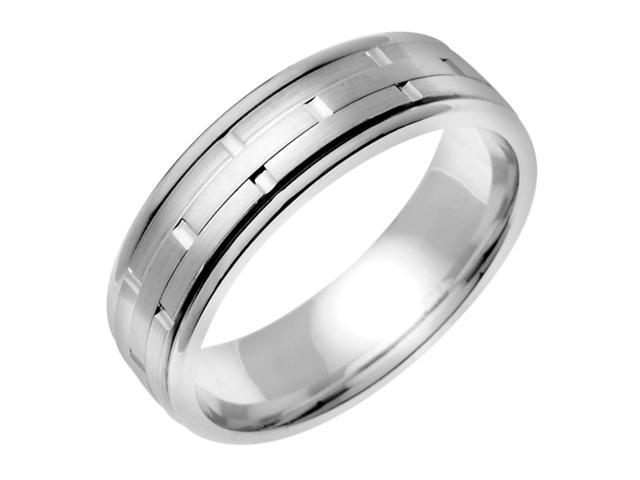 14K White Gold Comfort Fit Ring Stacks Contemporary Men'S Wedding Band