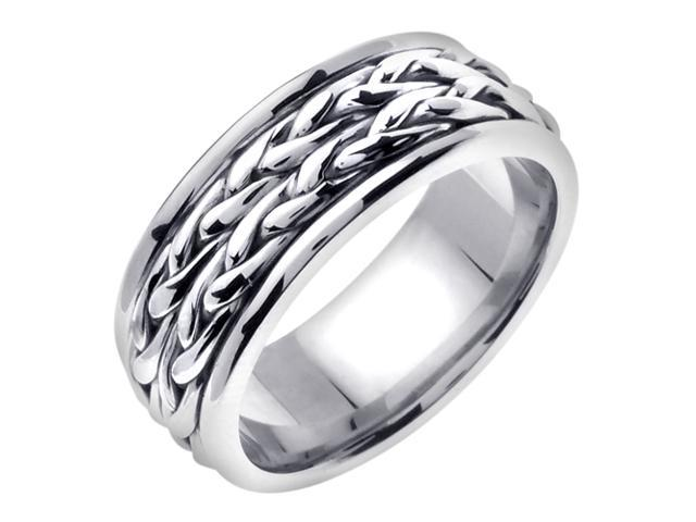 14K White Gold Comfort Fit Heavy Strand Braid Braided Men'S 8 Mm Wedding Band