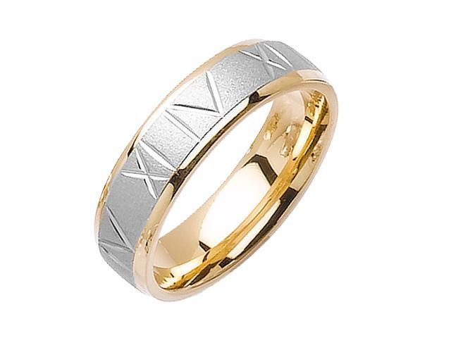 Roman Numerals Designer Men'S 6 Mm 14K Two Tone Gold Comfort Fit Wedding Band