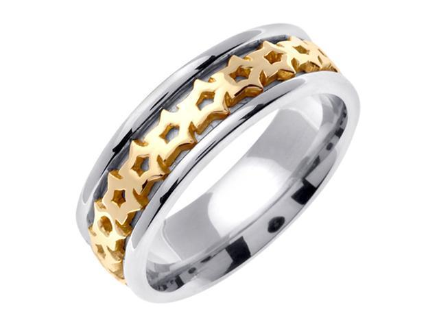 14K Two Tone Gold Comfort Fit Star Celtic Men'S 7 Mm Wedding Band