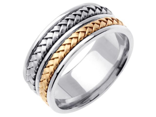 14K Two Tone Gold Comfort Fit Medium Size Weaved Braided Men'S Wedding Band
