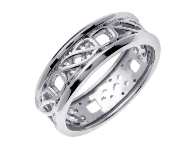14K White Gold Comfort Fit Double Spiral Celtic Men'S 7 Mm Wedding Band