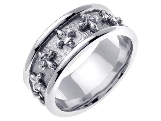 14K White Gold Comfort Fit Flat Antique Celtic Men'S 9 Mm Wedding Band