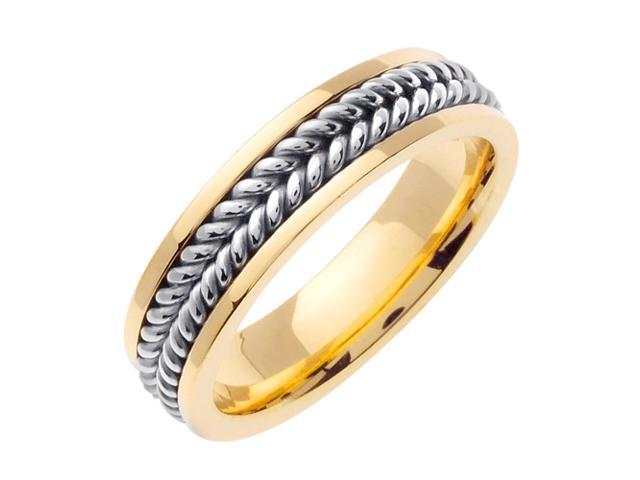 14K Two Tone Gold Comfort Fit Double Rope Braided Men'S Wedding Band