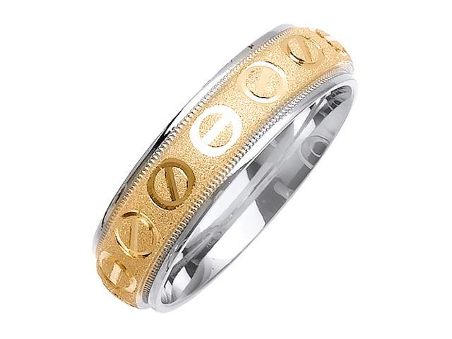 Love Minus Zero Designer Men'S 6 Mm 14K Two Tone Gold Comfort Fit Wedding Band