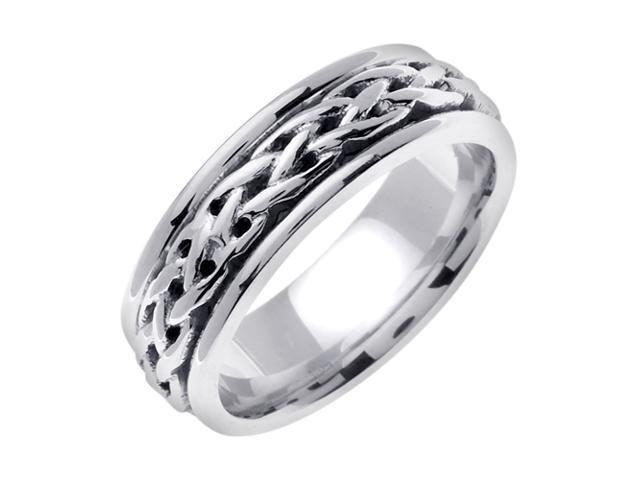 14K White Gold Comfort Fit Interweaved Infinity Celtic Men'S 6.5 Mm Wedding Band