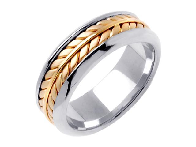 14K Two Tone Gold Comfort Fit Flatten Twist Braided Men'S Wedding Band