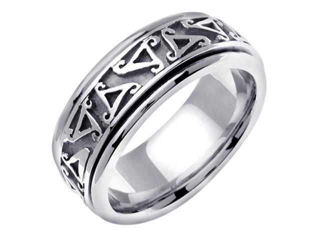 14K White Gold Comfort Fit Triskele Celtic Men'S 8 Mm Wedding Band