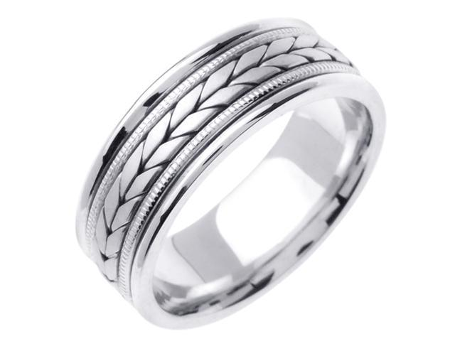 14K White Gold Comfort Fit Flatten Twist Braided Men'S Wedding Band