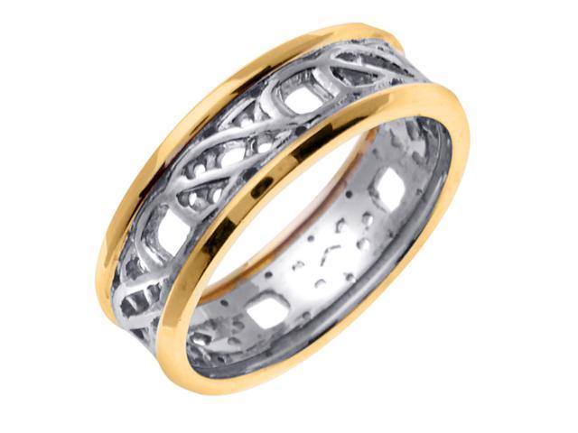 14K Two Tone Gold Comfort Fit Weaved Celtic Knot Celtic Men'S 7 Mm Wedding Band