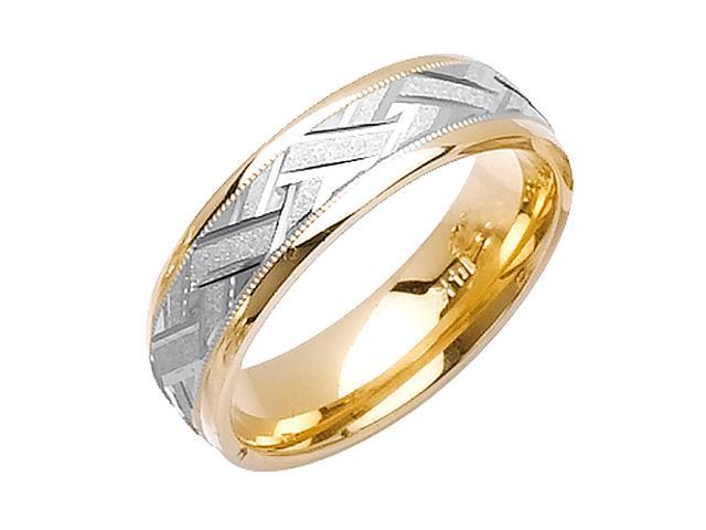 Weave Pattern Designer Men'S 6 Mm 14K Two Tone Gold Comfort Fit Wedding Band