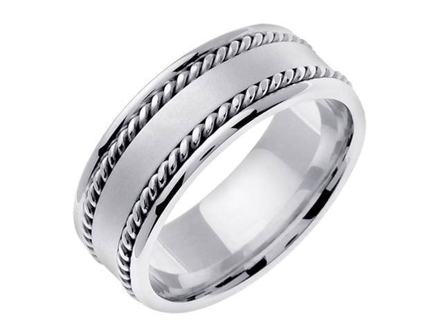 14K White Gold Comfort Fit Flat Surface Braided Men'S 8 Mm Wedding Band