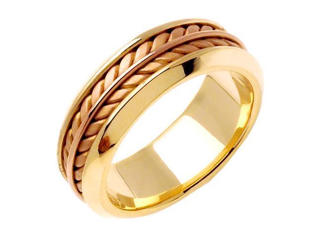 14K Two Tone Gold Comfort Fit Flatten Twist Braided Men'S Wedding Band