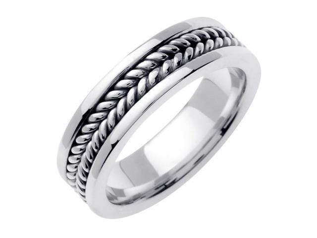 14K White Gold Comfort Fit Double Rope Braided Men'S Wedding Band