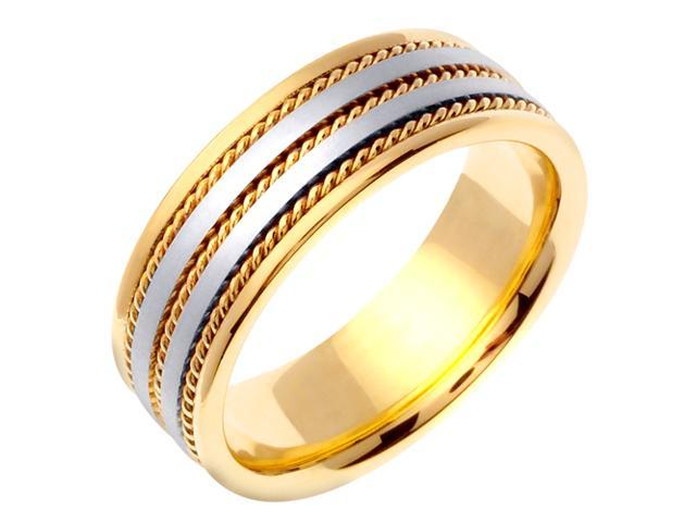 14K Two Tone Gold Comfort Fit Object Hammered Men'S 7 Mm Wedding Band