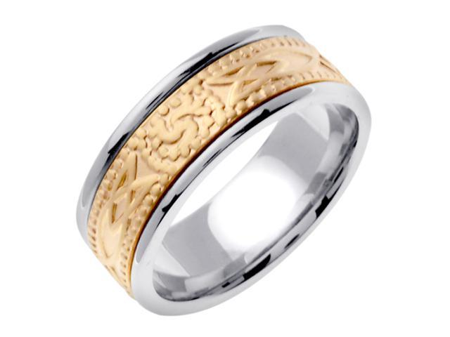 14K Two Tone Gold Comfort Fit Triple Spiral Celtic Men'S 8 Mm Wedding Band