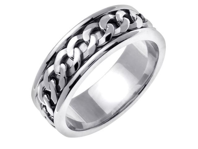 14K White Gold Comfort Fit Infinity Knot Celtic Men'S 7 Mm Wedding Band