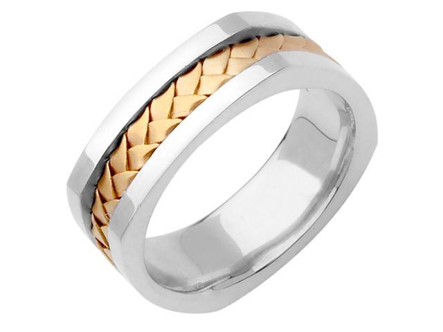 14K Two Tone Gold Comfort Fit Basket Weaved Braided Men'S Square Wedding Band