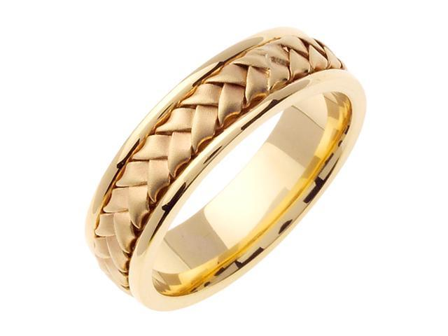 14K White Gold Comfort Fit Basket Weaved Braided Men'S Wedding Band
