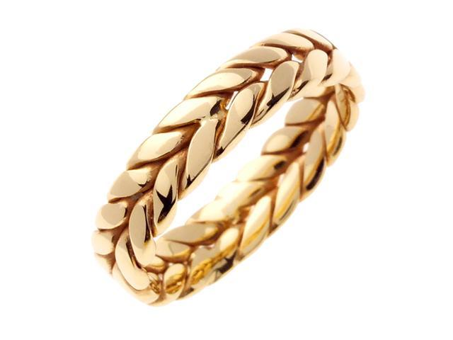 14K Yellow Gold Wreath Braided Men'S Wedding Band