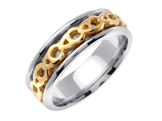14K Two Tone Gold Comfort Fit Eternity Knot Celtic Men'S 7 Mm Wedding Band