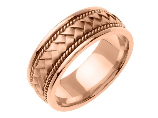 14K Rose Gold Comfort Fit Basket Weaved Braided Men'S Wedding Band