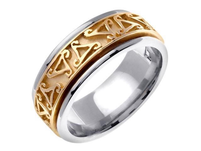 14K Two Tone Gold Comfort Fit Triskele Celtic Men'S 8 Mm Wedding Band