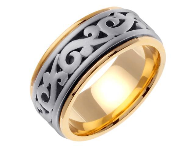 14K Two Tone Gold Comfort Fit Paisley Swirl Celtic Men'S 9.5 Mm Wedding Band