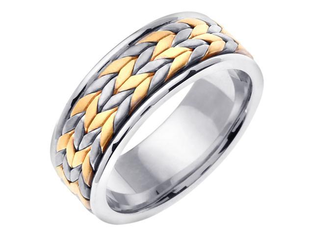 14K Two Tone Gold Comfort Fit Flatten Twist Braided Men'S 8 Mm Wedding Band
