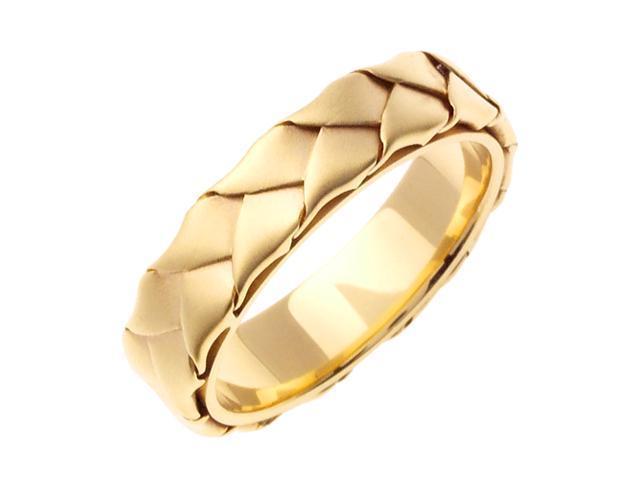 14K Yellow Gold Comfort Fit Basket Weaved Braided Men'S Wedding Band