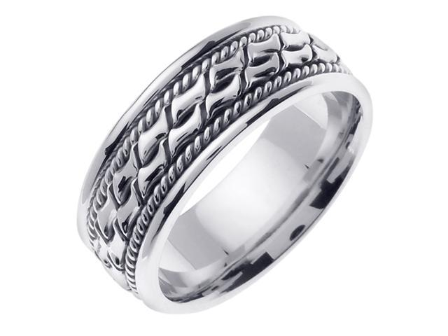 14K White Gold Comfort Fit Small Blocks Braided Men'S Wedding Band