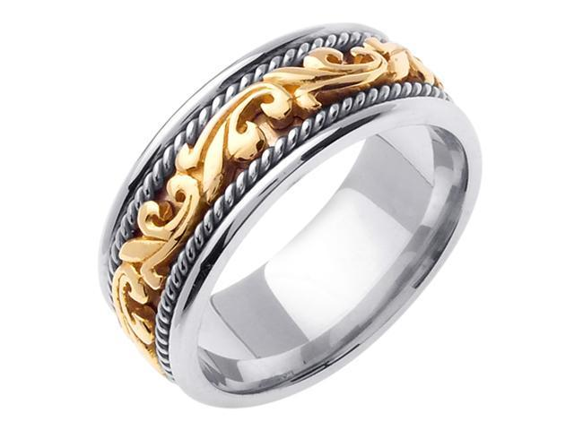 14K Two Tone Gold Comfort Fit Paisley Swirl Carved Men'S Wedding Band