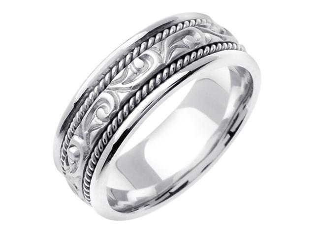 14K White Gold Comfort Fit Carved Paisley Swirl Carved Men'S Wedding Band