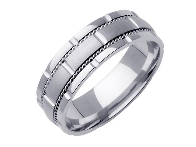 14K White Gold Comfort Fit   Men'S 7 Mm Wedding Band