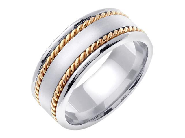 14K Two Tone Gold Comfort Fit Flat Surface Braided Men'S 8 Mm Wedding Band