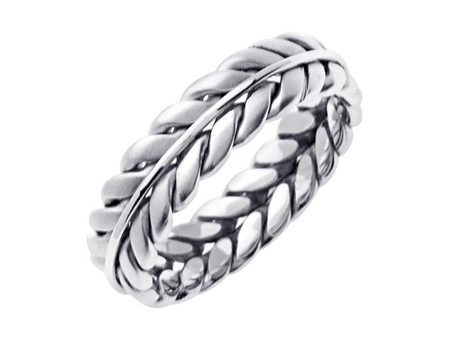 14K White Gold Wreath Braided Men'S Wedding Band