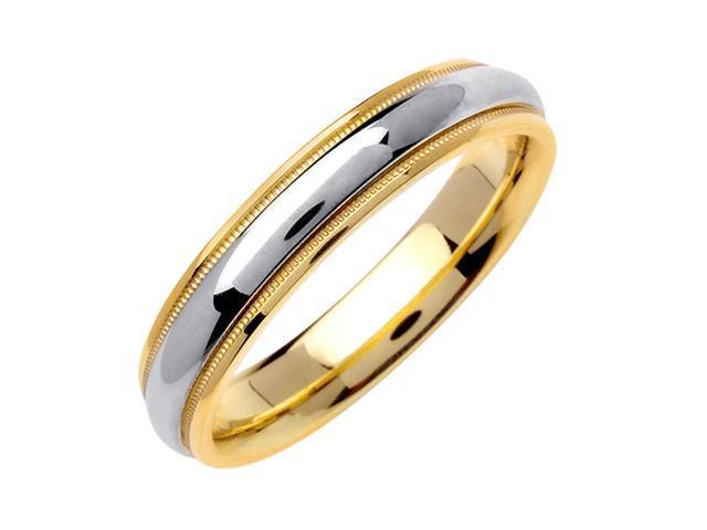 Half Dome Designer Men'S 4.5 Mm 14K Two Tone Gold Comfort Fit Wedding Band
