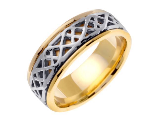 14K Two Tone Gold Comfort Fit Interweaved Celtic Men'S 8 Mm Wedding Band