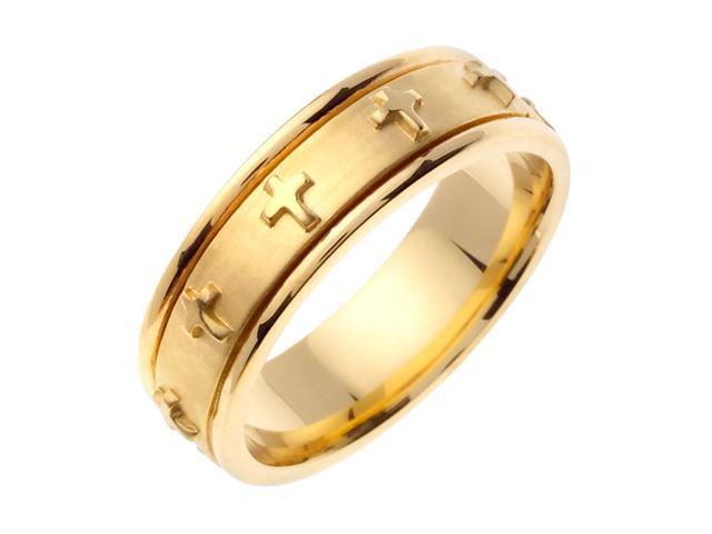 14K Yellow Gold Comfort Fit Flat Surface Christian Men'S Wedding Band