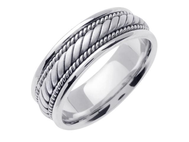 14K White Gold Comfort Fit Candy Cane Braided Men'S Wedding Band