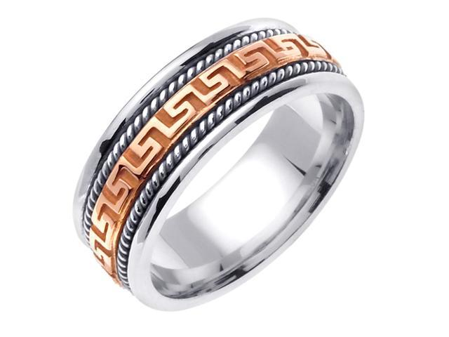 14K Two Tone Gold Comfort Fit Greek Key Contemporary Men'S Wedding Band