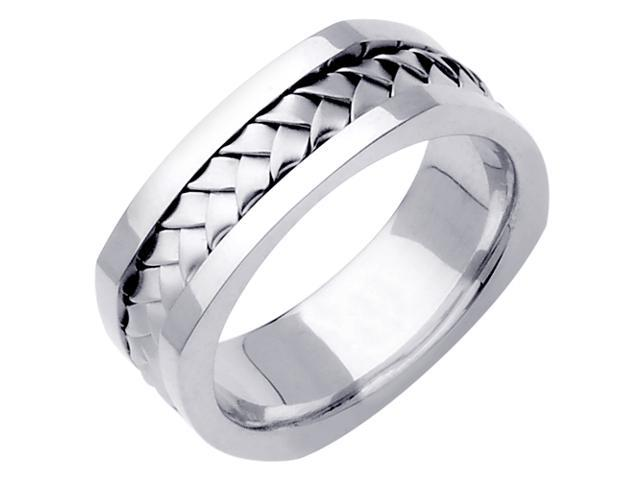 14K White Gold Comfort Fit Basket Weaved Braided Men'S Square Wedding Band