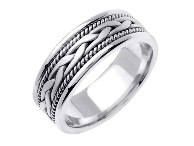 14K White Gold Comfort Fit Single French Braid Braided Men'S Wedding Band