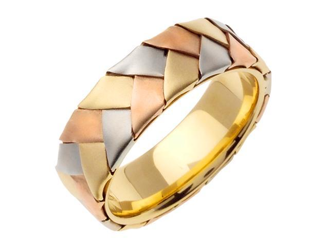 14K Tri Color Gold Comfort Fit Basket Weaved Braided Men'S Wedding Band