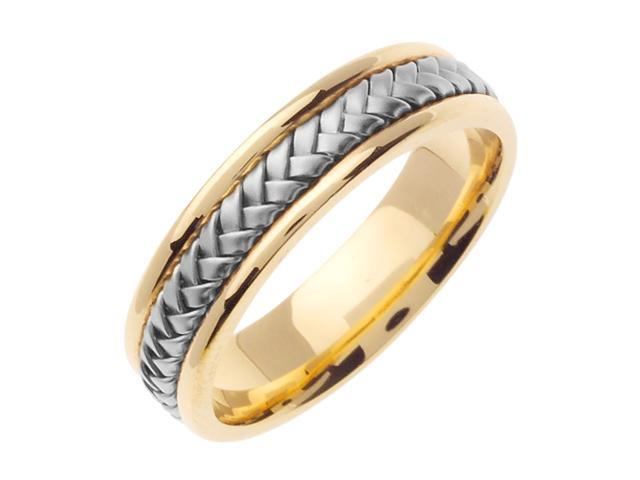 Faceted Designer Men'S 6 Mm 14K Two Tone Gold Comfort Fit Wedding Band