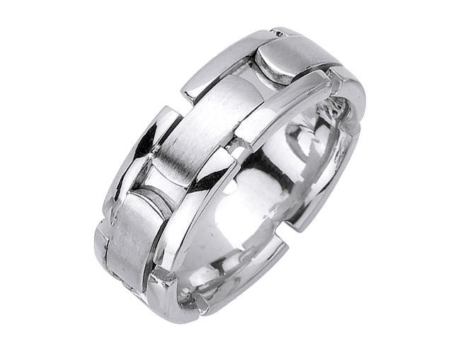 14K White Gold Comfort Fit Expanded Links Contemporary Men'S 8 Mm Wedding Band